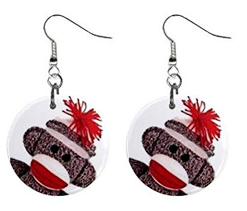 Sock Monkey Face Dangle Button Earrings Jewelry 1 Inch Round 27353845