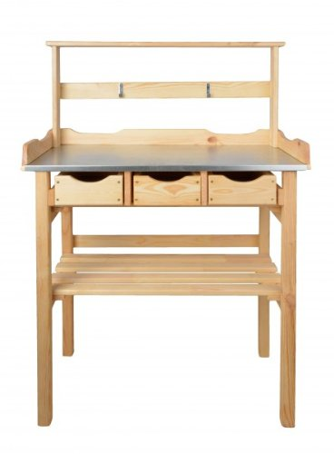 mgc24® Pflanztisch mit verzinkter Arbeitsplatte | 80x40x117cm | Kiefernholz Natur | mit Abstellboden + 3 Schubladen + Oberleiste