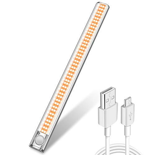 Luz Nocturna con Sensor de Movimiento,160 LED Recargable Sensor de Luz Interior Luz de Armario con 3 Modos,Para Armario,Pasillo,Escalera,Sótano,Cocina,Garaje,Gabinete y Baño