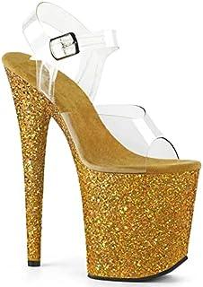 20cm High Heels Blinkende Plattform Stiletto High Heel Pole Dance Model Laufsteg Schuhe-Yellow  37