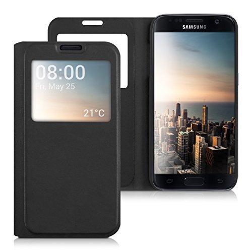 kwmobile Hülle kompatibel mit Samsung Galaxy S7 - Handyhülle Handy Case Schutzhülle Klapphülle in Schwarz