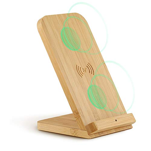 Veelink Bamboo Fast Wireless Charger Stand Wood 10W 2 Coils Compatible with iPhone Xs max/XR/8Plus, Samsung Galaxy Note 9 S9 S8+