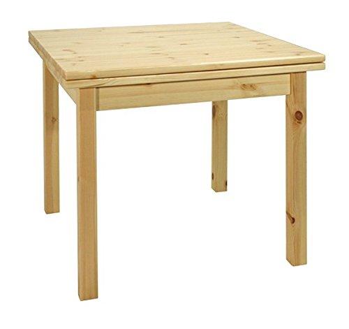 Arredamenti Rustici Table Extensible de réfectoire 80x80 en pin Massif - Brut
