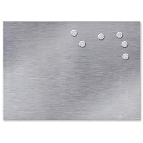 TW24 Magnettafel Edelstahl 35x50cm inkl. 6 Magnete Memoboard Küchentafel Pinnwand Silber