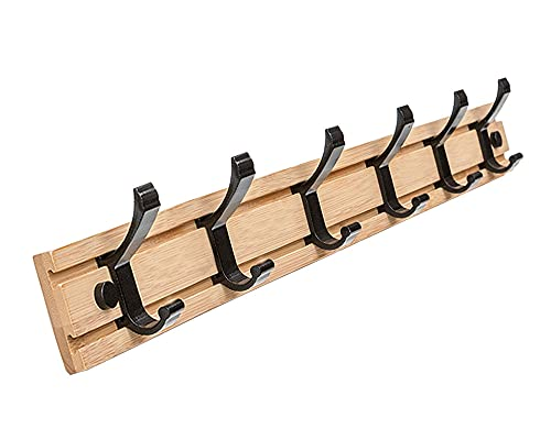 Wall Coat Hooks Rack Adhesive Key Holder Wall Mounted Bedroom Storage Bamboo Sticky Hook No Screw For Hanging Hat Pack Jacket Towel In Hall Hallway Entryway, 6 Hooks 60cm