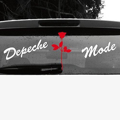 GreenIT Set Schreibschrift Schriftzug und Rose Aufkleber Tattoo die Cut car Decal Auto Heck Deko Folie Depeche Mode (Weiss-rot-invers)