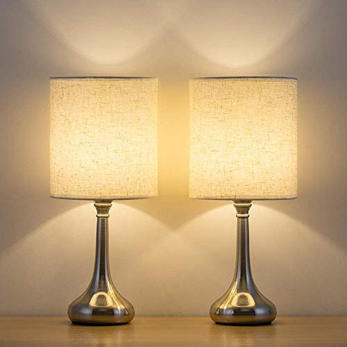 HAITRAL Bedside Table Lamps Set of 2 - Small Modern Nightstand Lamps with Fabric Shade, Small Desk Lamps for Bedroom, Living Room, Family Room, Hotel - Silver