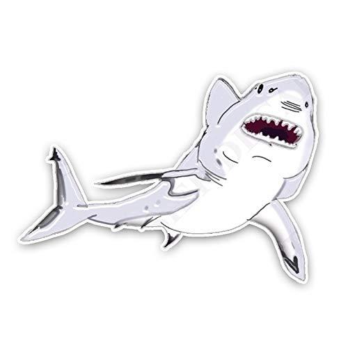 ZCZWQ 15cm x10.5cm Lindo Historieta Enojada Grande Blanco tiburón Color Pegatina de Coche Decorativo Pegatina gráfica Decorativa