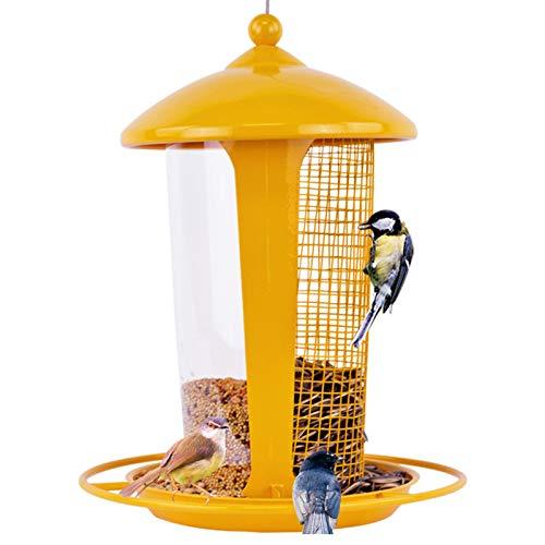 Comederos Para Pájaros Salvajes 2 En 1 Para Exteriores, Comederos Para Pájaros Panorámicos Colgantes, Contenedor Comida Para Suministros Mascotas A Aire Libre Impermeables Decoración ,Amarillo