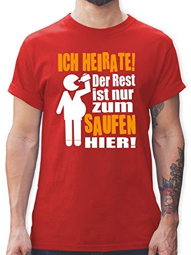 JGA Junggesellenabschied Männer - Ich heirate! Der Rest ist nur zum Saufen Hier! Figur mit Flasche - S - Rot - gelbes Tshirt Herren - L190 - Tshirt Herren und Männer T-Shirts