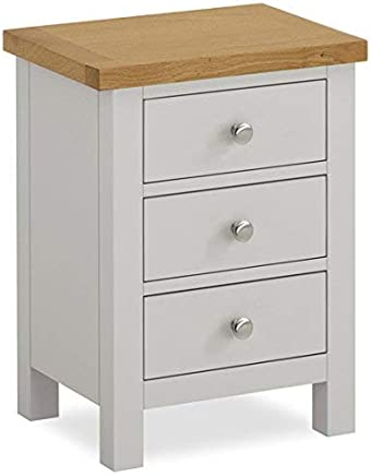 dda82cd405fd Roseland Furniture Farrow Painted Bedside Table/Stone Grey Bedside Cabinet/Painted  Night Stand Oak