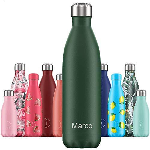 Chillys Isolierflasche MIT Gravur (z.B. Namen) Matte Green Grün 750 ml, hält bis zu 12 Std heiß / 24 Std kalt, auslaufsicher, kohlensäuredicht, Thermo-Flasche Trinkflasche Bottle Wasserflasche