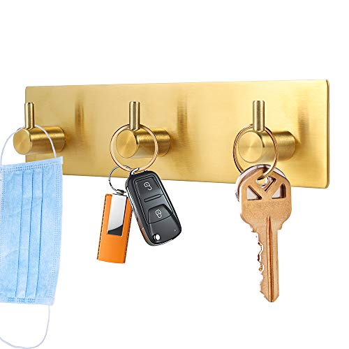 Picowe Key Holder for Wall Decorative, Adhesive Stainless Steel Key Hooks, Key Hanger Key Organizer for Wall, Towel Hook Coat Hanger for Kitchen Bathroom Mudroom Hallway Entryway, Golden Color