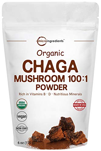 Sustainably Maine Grown, Wild Harvest Organic Chaga Mushroom Extract 100:1 Powder, 6 Ounce, Powerful Immune System and Energy Booster, Superfoods for Beverage and Smoothie, No GMOs and Vegan Friendly