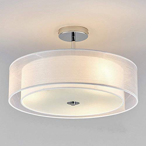 Stoff Deckenleuchte - Schlafzimmer Wohnzimmer Lampe - Modern Runde Designleuchte - Decke Deko Beleuchtung - Wohnung Flur Deckenlampe - Stofflampe Schlafzimmerlampe - E27 3 flammig - Weiß Chrom D 50cm