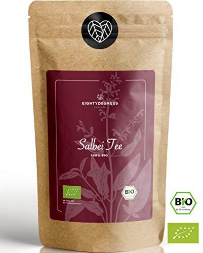 BIO Salbeitee - Salbeiblätter geschnitten, lose - Salvia officinales, Echter Salbei, getrocknet - Premium Bio-Qualität - geprüft und abgefüllt in Deutschland (DE-ÖKO-39) | 80DEGREES (250g)