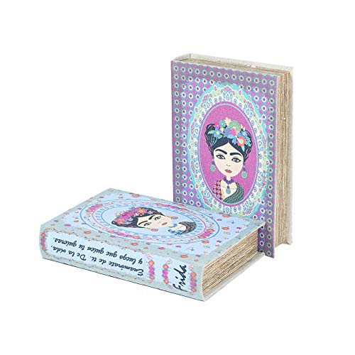 Vidal Regalos Caja Forma Libro x2 Frida Kahlo Madera 24 cm