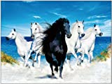 TripStan 3D Home Wall Art Decor Lenticular Pictures, Horse Collection Holographic Flipping Images, 12x16 inches Animal Poster Painting, Without Frame, Galloping Horse