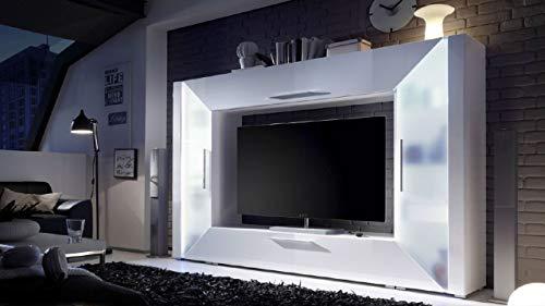Mediawand Wohnwand Edge weiß Hochglanz TV Wand mit Ambiente Beleuchtung