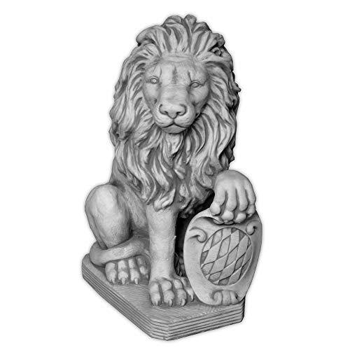 gartendekoparadies.de Herrlicher Stein - Löwe mit Wappen Schild Links Torwächter aus Steinguss, frostfest