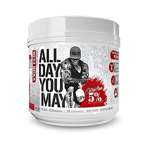 Rich Piana 5% Nutrition AllDayYouMay Legendary BCAA Powder, 9g of Amino Acids | Elite Intra Workout for Muscle Recovery, Hydration, Endurance & Joint Support | 15.3 oz, 30 Srvgs (Watermelon)