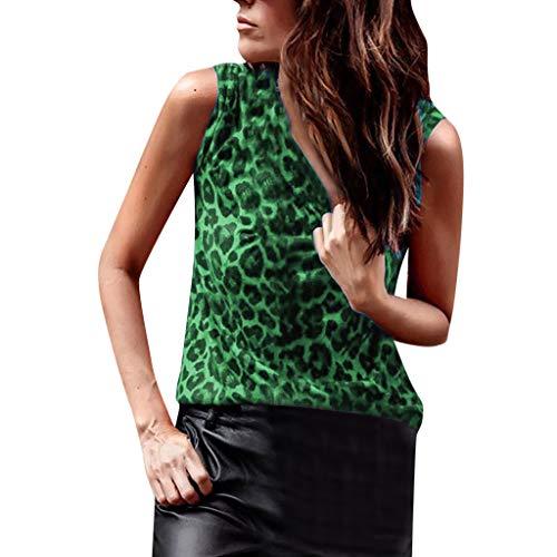 Luckycat Mujer Estampado de Leopardo Camisetas Tirantes Sin Mangas Camisas Blusas Vintage Algodón T Shirt Tops