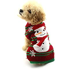 Dog Christmas Sweater with snowman and snowflakes.. Red with green stripes