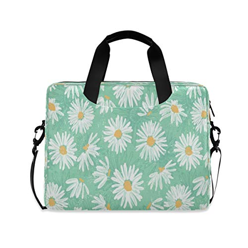 Pretty Daidies Floral Light Blue Laptop Bag Protective Case Computer Messenger Briefcase Women Men 16' 15.6' 14'