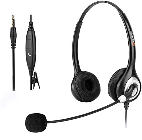 Cell Phone Headset with Mic Noise Cancelling & Call Controls, Ultra Comfort 3.5mm Computer Headset for iPhone Android PC Skype Call Center Office