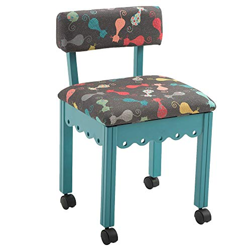 Arrow 6109 Wood Sewing and Craft Chair with Gingerbread Design and Under Seat Storage, Print Upholstery Fabric, Blue with Grey Cat Print Fabric