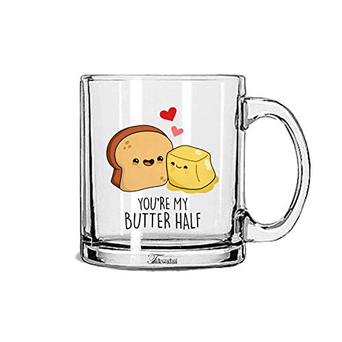 Tonkwalas You're My Butter Half Printed Transparent Glass Coffee and Tea Mug Birthday Gift, Anniversary Gift to Wife, Husband,...