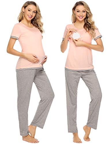 Aibrou Damen Stillpyjama Kurzarme Zweiteilige Umstandspyjama Set Stillshirt und Hose Rosa XXL
