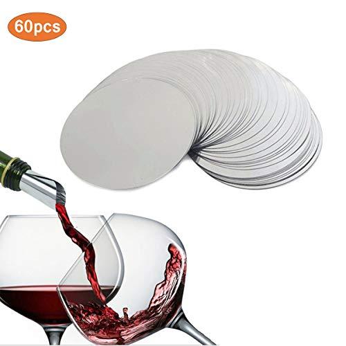 Yueser 60 Pezzi Versatore di Vino, Alluminio Disco Versatore,Sottile Flessibile e Riutilizzabile Drop Stop Dischi,Protegge dalle Macchie