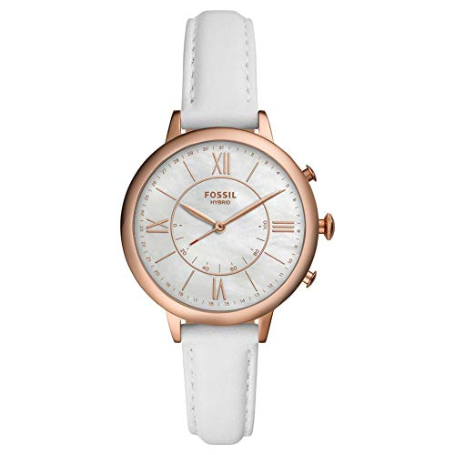 Fossil - Reloj híbrido de Acero Inoxidable para Mujer con Correa de Cuero, Blanco, 14 (Modelo: FTW5046)