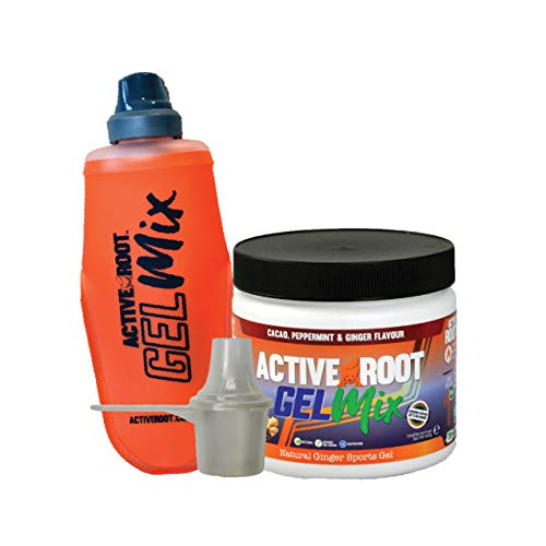 Active Root Bundle Energy Gel Mix and Soft Flask, Cacao Peppermint and Ginger Flavour Natural Energy Gel, Vegan and Eco-Friendly