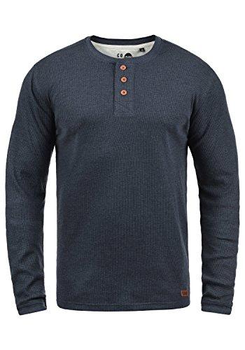 !Solid Tokato Herren Longsleeve Langarmshirt Shirt Mit Rundhalsausschnitt, Größe:L, Farbe:Insignia Blue Melange (8991)