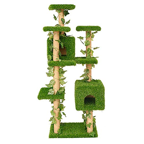 Kunstrasen Katzenbaum,Kratzbrett Katzenmöbel Turm Haus Katzennest Bis Zu 4 Katzen Spielzeug Dose Multi-Orte Für Spielen Schlafen Schleifkrallen