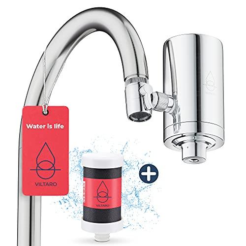 VILTARO® Wasserfilter für Wasserhahn | Edelstahl | Leitungswasser filtern | Filter für Armatur | Trinkwasserfilter mit Kartusche aus nachhaltigem CoconutBlock