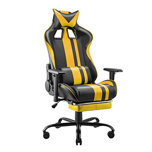 Soontrans Racing Chair, Computer Gaming Chair for Adults Kids,Ergonomic Office Chair,Gaming Chair with High Back Support,Height Armrest Adjustable,180° Tiltable,Headrest and Lumbar Support(Yellow)