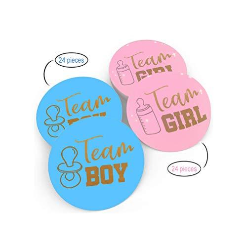 Geschlecht Offenbaren Aufkleber,48 Stücke Gender Reveal Babyaufkleber mit Goldenen Glitzer Buchstaben Babyparty Etiketten für Babyparty Dekorationen