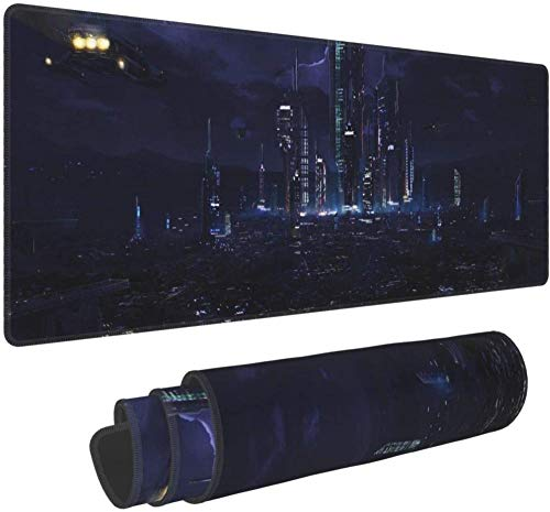 XTTGGD Future City Technology Night Light Special Effects Silent Tall Buildings Computer Laptop Keyboard Mousepads Gaming Mouse Pads for Kids Boys Girls Men Women Office Work Gifts