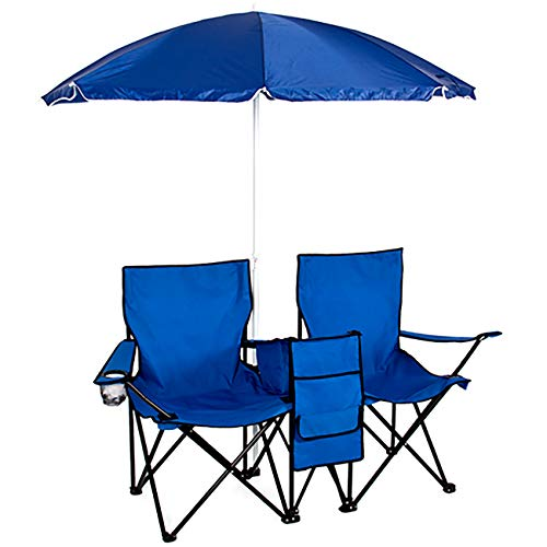 Best Choice Products Picnic Double Folding Chair w Umbrella Table Cooler Fold Up Beach Camping Chair