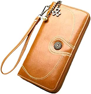 Women's Vintage Style RFID Blocking Large Capacity Clutch Wallet with Wrist Strap for Women