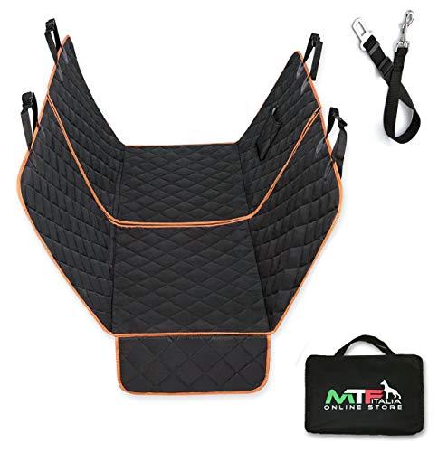 MTF Italia Universal-Autositzbezug für Hunde, 2 in 1, teilbar, mit Reißverschluss für Rücksitze und Vordersitz, 137 x 147 cm, wasserdicht, gesteppt, rutschfest + Gürtel, Tasche