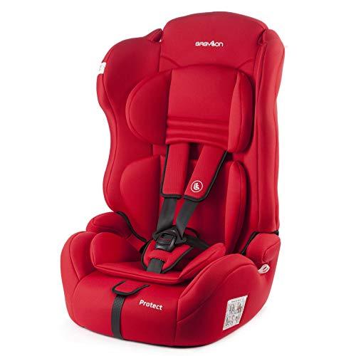 BABYLON silla bebe coche Protect silla de coche grupo 1 2 3, silla de bebe para coche Niños 9-36 kg silla coche bebe(1 a 12 años). silla coche sin isofix fabricada en Europa ECE R44 /0 rojo