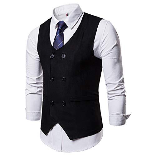 Herren Pure Farbe Anzug Weste Kleid Weste Für Männer Smoking Weste(schwarz,2XL)