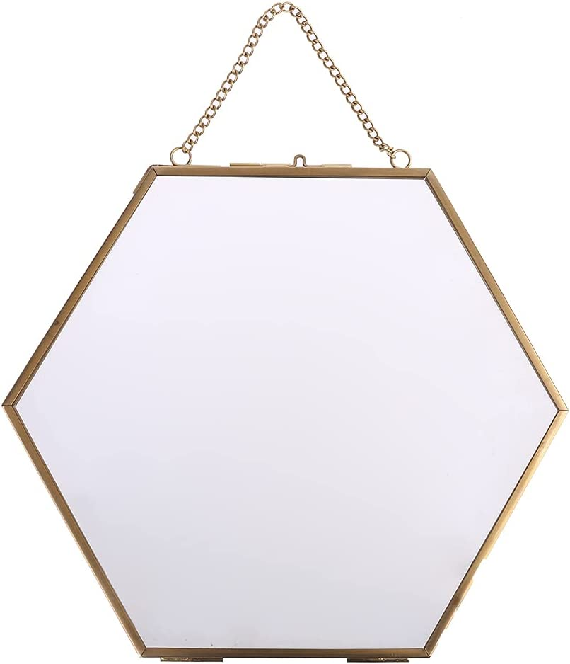 Hexagon Super sale period Industry No. 1 limited Floating Hanging Photo Frame Portrait Metal Pictur Glass
