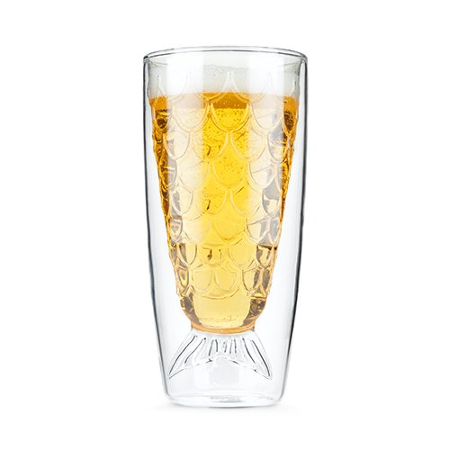 True Fabrication SS-TRU-4229 Drink Like A Fish Double Wall Glass, Multicolor