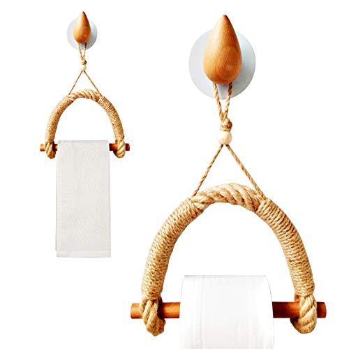Portarrollos de papel higiénico de madera, vintage, cuerda de cáñamo, sin agujeros, autoadhesivo, decoración náutica, accesorio de baño para baño (gotas de agua)