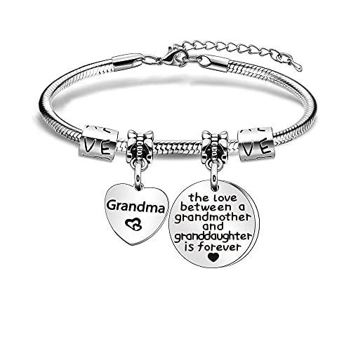 Grandma Gifts - Pulsera de plata para abuela, diseño de nieta